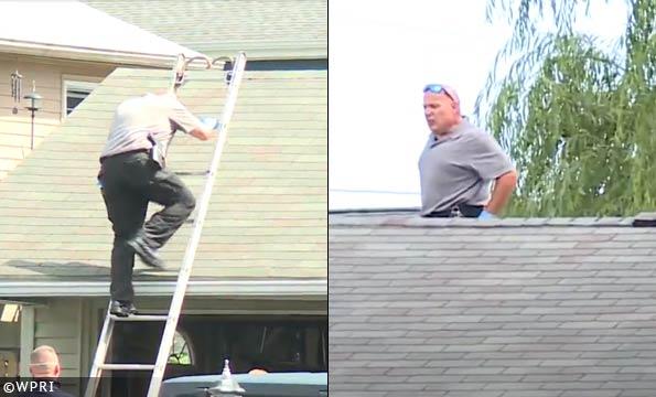East Providence Investigator on Roof